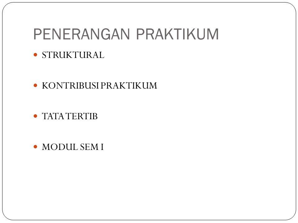 PENERANGAN PRAKTIKUM STRUKTURAL KONTRIBUSI PRAKTIKUM TATA TERTIB MODUL SEM I