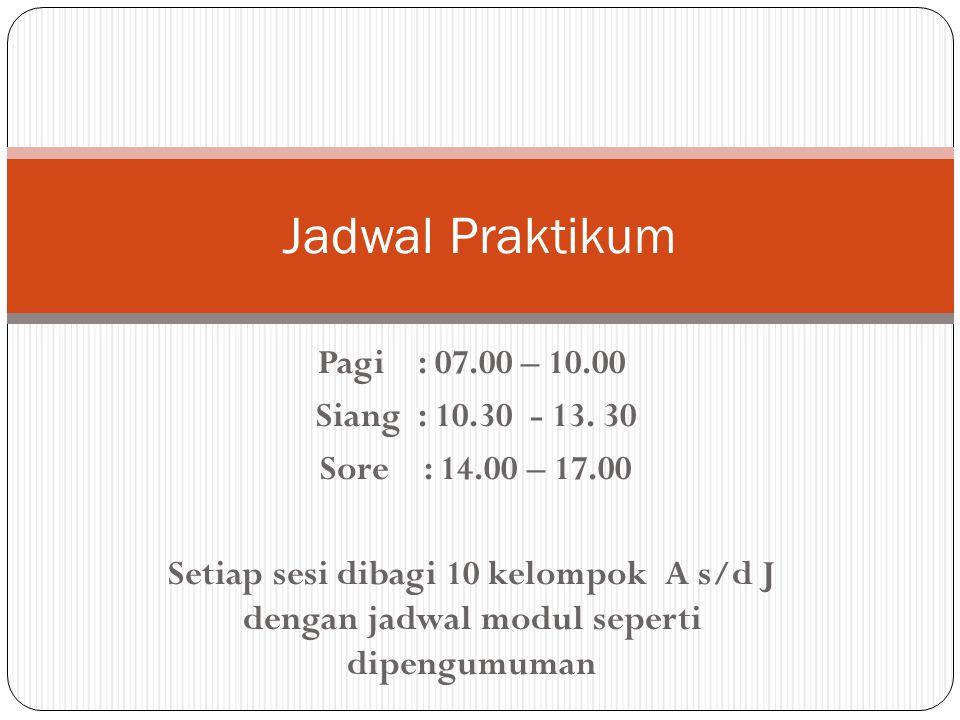 Pagi : 07.00 – 10.00 Siang : 10.30 - 13. 30 Sore : 14.00 – 17.00 Setiap sesi dibagi 10 kelompok A s/d J dengan jadwal modul seperti dipengumuman Jadwa