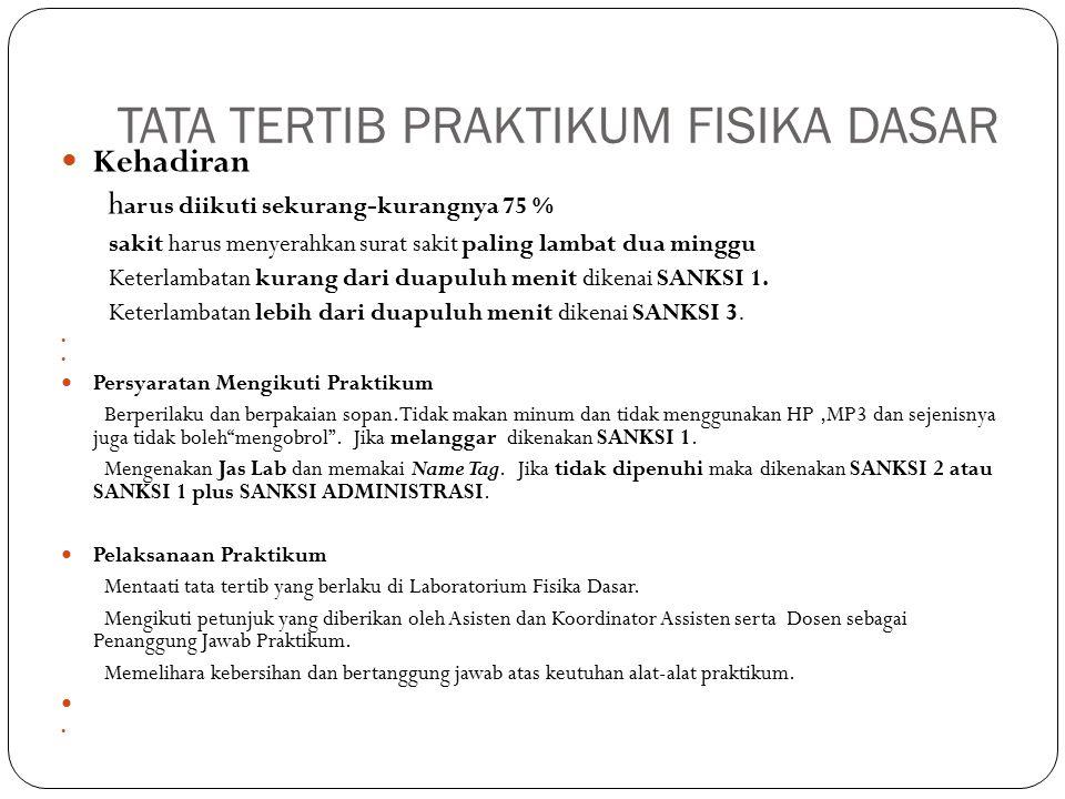 TATATERTIB ABSENSI MAHASISWA TPB DI LABORATORIUM FISIKA DASAR ITB Sistem absensi dilakukan dengan sistem komputerisasi menggunakan barcode reader Praktikan wajib hadir sebelum jam praktikum sesuai jadwal masing-masing Pagi (Sesi 1): 07.00 – 10.00 Siang (Sesi 2): 10.30 - 13.