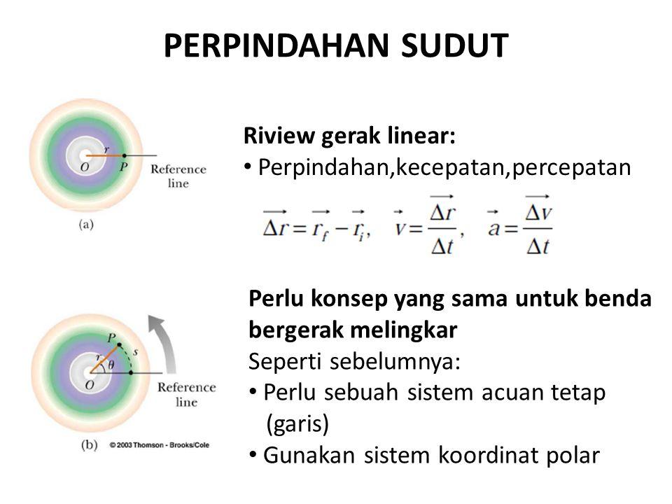PERPINDAHAN SUDUT Riview gerak linear: Perpindahan,kecepatan,percepatan Perlu konsep yang sama untuk benda bergerak melingkar Seperti sebelumnya: Perlu sebuah sistem acuan tetap (garis) Gunakan sistem koordinat polar