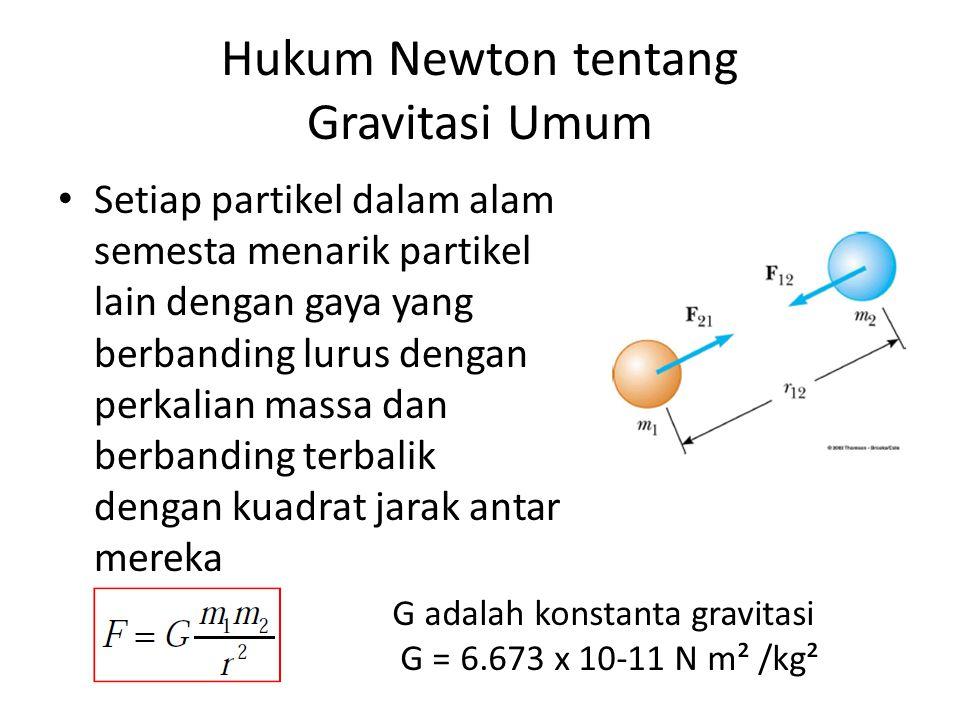 Hukum Newton tentang Gravitasi Umum Setiap partikel dalam alam semesta menarik partikel lain dengan gaya yang berbanding lurus dengan perkalian massa dan berbanding terbalik dengan kuadrat jarak antar mereka G adalah konstanta gravitasi G = 6.673 x 10-11 N m² /kg²