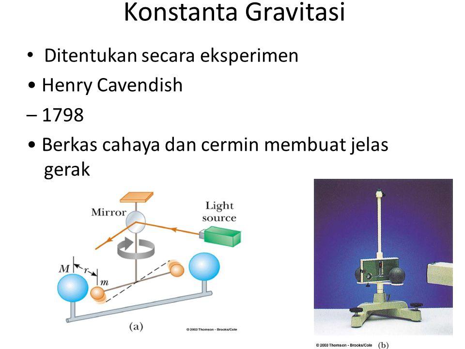 Konstanta Gravitasi Ditentukan secara eksperimen Henry Cavendish – 1798 Berkas cahaya dan cermin membuat jelas gerak