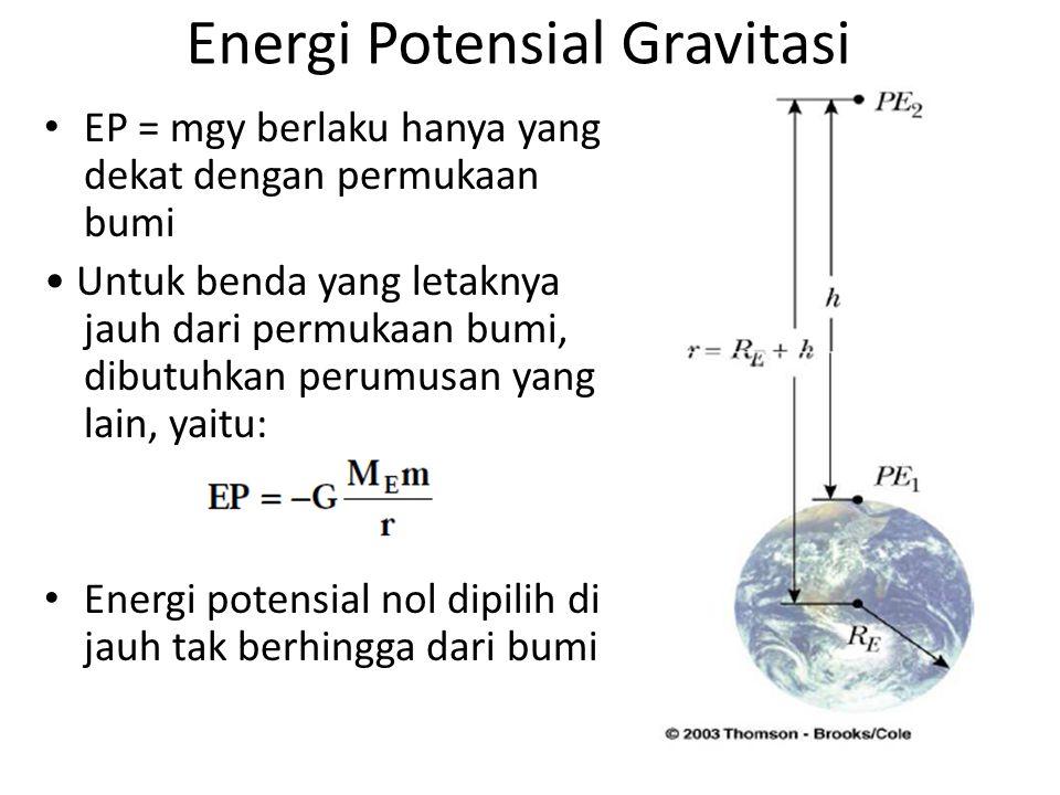 Energi Potensial Gravitasi EP = mgy berlaku hanya yang dekat dengan permukaan bumi Untuk benda yang letaknya jauh dari permukaan bumi, dibutuhkan perumusan yang lain, yaitu: Energi potensial nol dipilih di jauh tak berhingga dari bumi