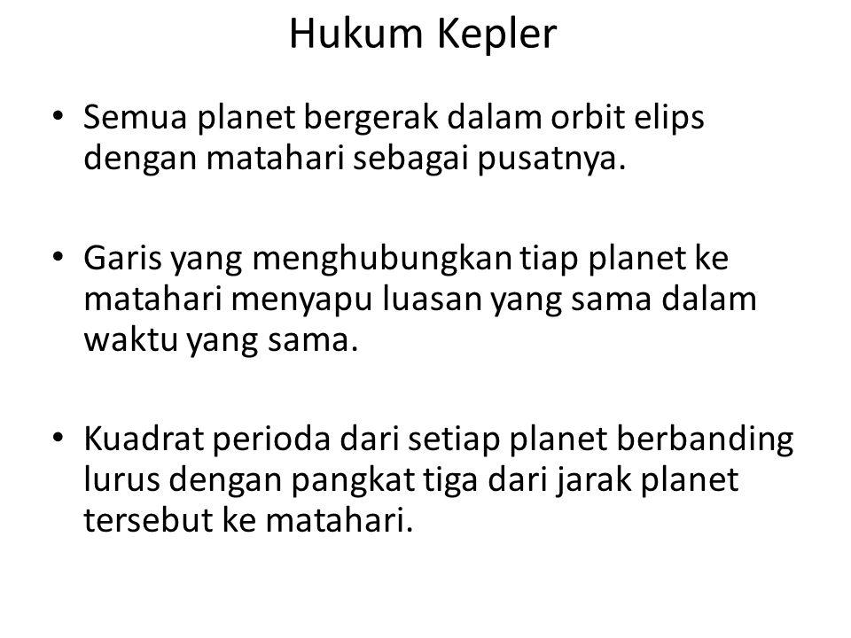 Hukum Kepler Semua planet bergerak dalam orbit elips dengan matahari sebagai pusatnya.