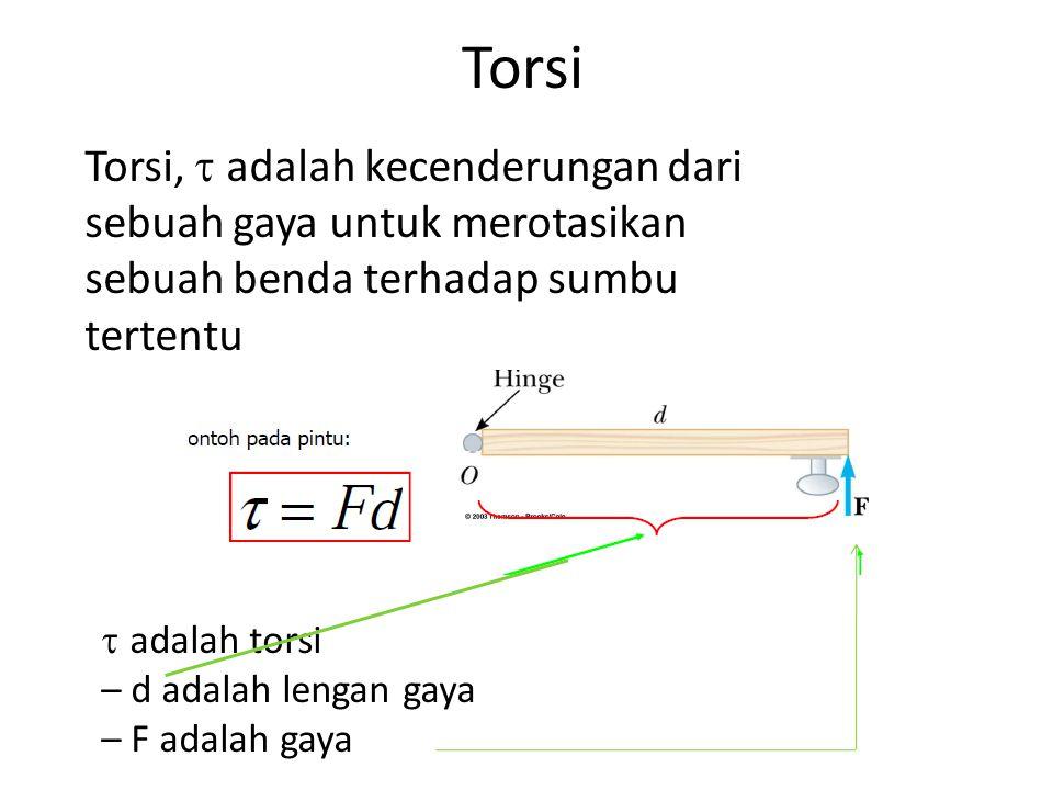 Torsi Torsi,  adalah kecenderungan dari sebuah gaya untuk merotasikan sebuah benda terhadap sumbu tertentu  adalah torsi – d adalah lengan gaya – F adalah gaya