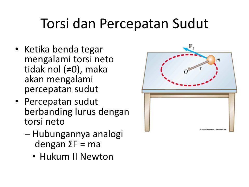 Torsi dan Percepatan Sudut Ketika benda tegar mengalami torsi neto tidak nol (≠0), maka akan mengalami percepatan sudut Percepatan sudut berbanding lurus dengan torsi neto – Hubungannya analogi dengan ΣF = ma Hukum II Newton