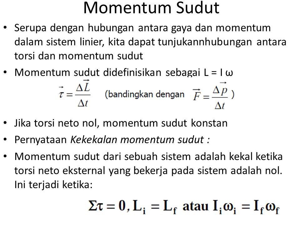 Momentum Sudut Serupa dengan hubungan antara gaya dan momentum dalam sistem linier, kita dapat tunjukannhubungan antara torsi dan momentum sudut Momentum sudut didefinisikan sebagai L = I ω Jika torsi neto nol, momentum sudut konstan Pernyataan Kekekalan momentum sudut : Momentum sudut dari sebuah sistem adalah kekal ketika torsi neto eksternal yang bekerja pada sistem adalah nol.