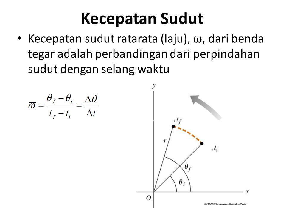 Kecepatan Sudut Kecepatan sudut ratarata (laju), ω, dari benda tegar adalah perbandingan dari perpindahan sudut dengan selang waktu