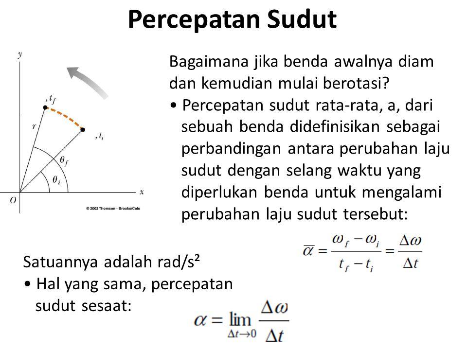 Catatan tentang kinematika sudut Ketika sebuah benda tegar berotasi terhadap sumbu tetap tertentu, tiap bagian dari benda memiliki laju sudut dan percepatan sudut yang sama Artinya , , dan  tidak bergantung pada r, jarak tiap bagian benda ke sumbu rotasi