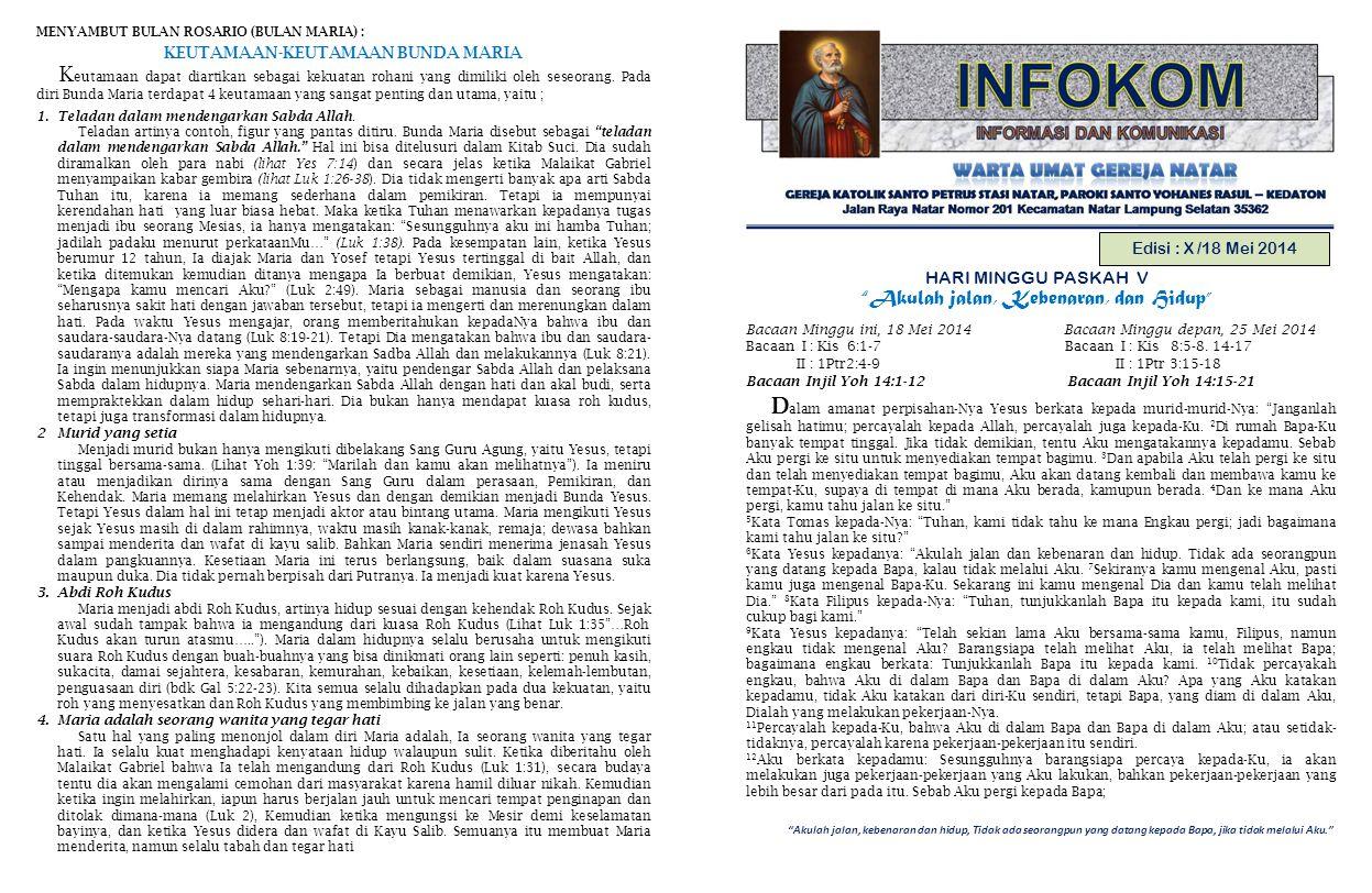 Akulah jalan, kebenaran dan hidup, Tidak ada seorangpun yang datang kepada Bapa, jika tidak melalui Aku. Edisi : X /18 Mei 2014 HARI MINGGU PASKAH V Akulah jalan, Kebenaran, dan Hidup Bacaan Minggu ini, 18 Mei 2014 Bacaan Minggu depan, 25 Mei 2014 Bacaan I : Kis 6:1-7 Bacaan I : Kis 8:5-8.