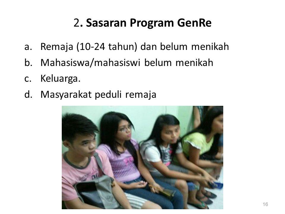 2. Sasaran Program GenRe a.Remaja (10-24 tahun) dan belum menikah b.Mahasiswa/mahasiswi belum menikah c.Keluarga. d.Masyarakat peduli remaja 16