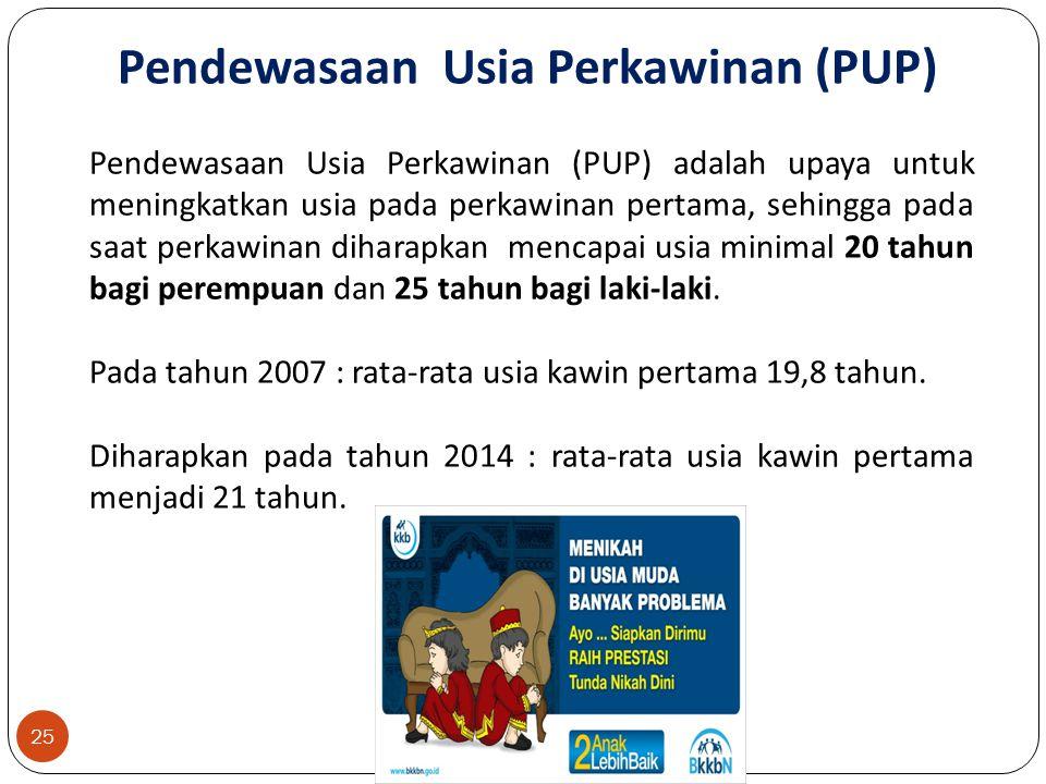 25 Pendewasaan Usia Perkawinan (PUP) adalah upaya untuk meningkatkan usia pada perkawinan pertama, sehingga pada saat perkawinan diharapkan mencapai usia minimal 20 tahun bagi perempuan dan 25 tahun bagi laki-laki.