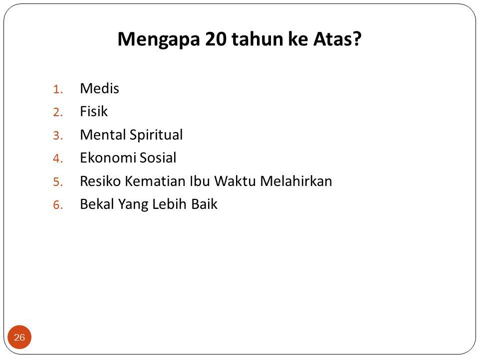 Mengapa 20 tahun ke Atas.26 1. Medis 2. Fisik 3. Mental Spiritual 4.