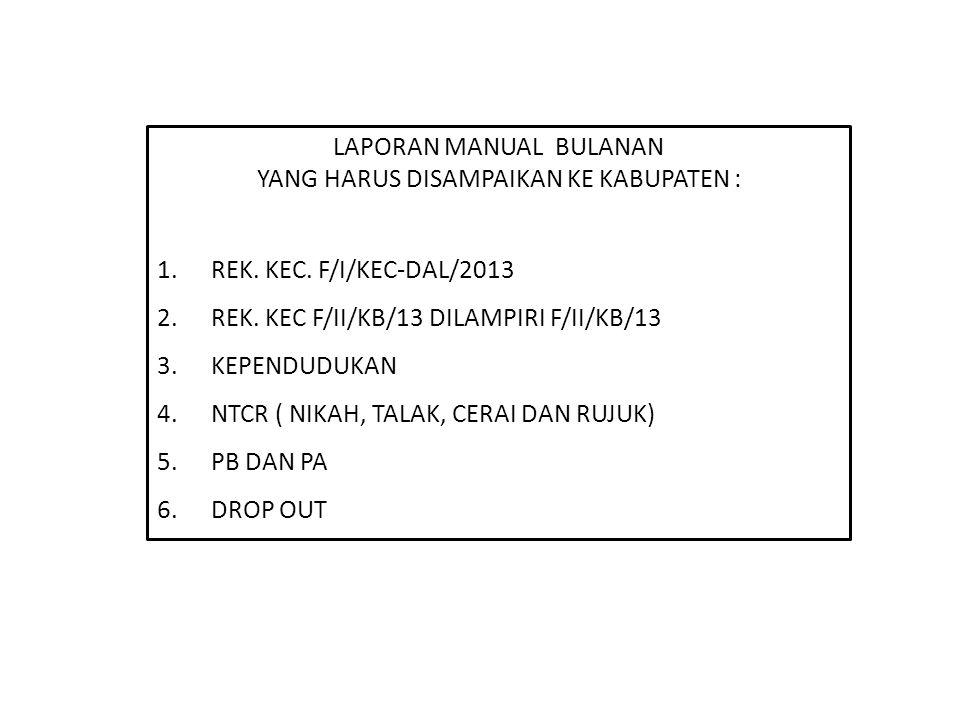 LAPORAN MANUAL BULANAN YANG HARUS DISAMPAIKAN KE KABUPATEN : 1.REK. KEC. F/I/KEC-DAL/2013 2.REK. KEC F/II/KB/13 DILAMPIRI F/II/KB/13 3.KEPENDUDUKAN 4.