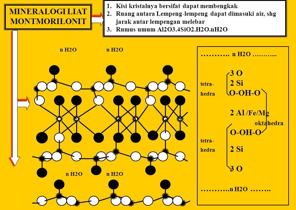 MINERALOGI LIAT PIROFILIT 1. Rumus umumnya Al2O3.4SiO2.H2O 2. O Si Al OH 3 O tetra- 2 Si hedra O-OH-O 2 Al okta- O-OH-O hedra tetra- 2 Si hedra 3 O Pe