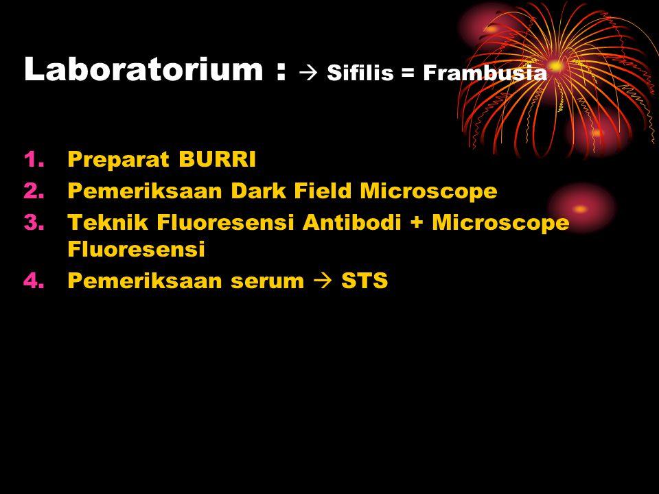 Laboratorium :  Sifilis = Frambusia 1.Preparat BURRI 2.Pemeriksaan Dark Field Microscope 3.Teknik Fluoresensi Antibodi + Microscope Fluoresensi 4.Pem