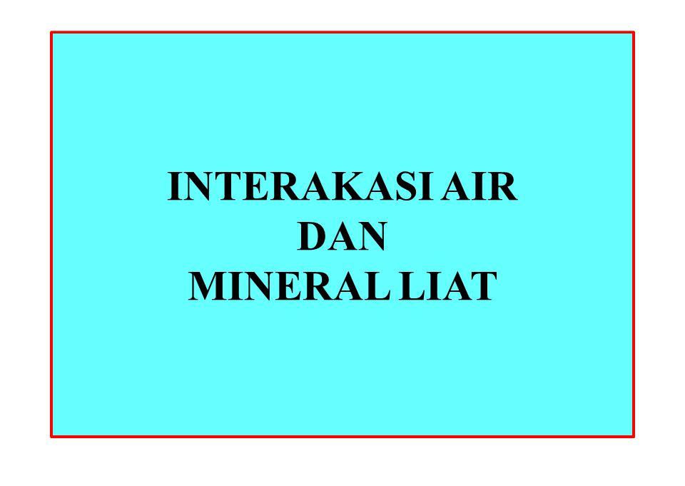 Nilai-nilai yang Khas Montmorillonit Illit Kaolinit 50-120 m 2 /gm (Permukaan eksternal) 700-840 m 2 /gm (termasuk permukaan interlayer) 65-100 m 2 /g