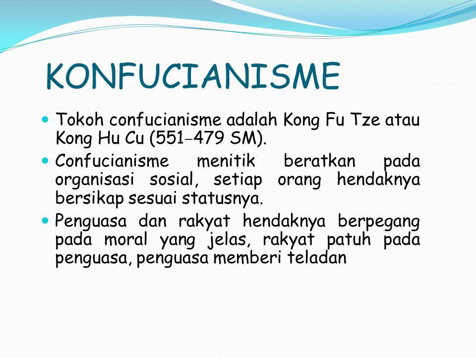 KONFUCIANISME Tokoh confucianisme adalah Kong Fu Tze atau Kong Hu Cu (551 – 479 SM). Confucianisme menitik beratkan pada organisasi sosial, setiap ora