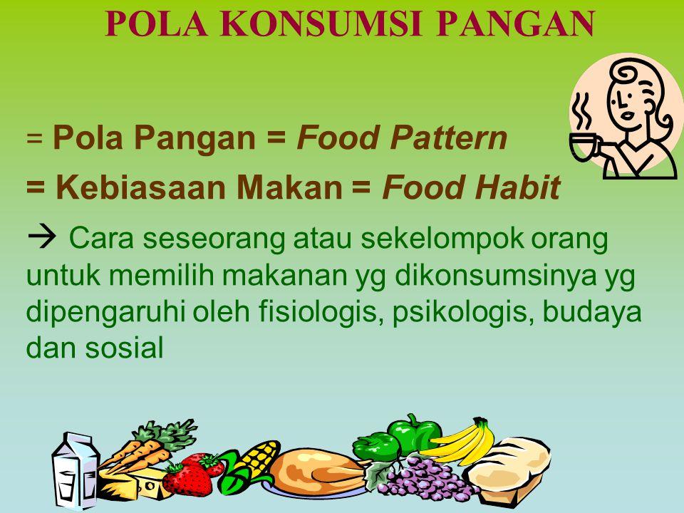 Pedoman Umum Gizi Seimbang (PUGS)  penjabaran dari menu seimbang 4 sehat 5 sempurna Konsep Dasar Gizi Seimbang –Menu yang dianjurkan adalah yang menjamin keseim- bangan zat-zat gizi –Tiap bahan makanan dapat saling melengkapi  mengkonsumsi beraneka ragam makanan setiap harinya –Bahan makanan dikelompokkan pada 3 fungsi utama : (1) sumber energi: makanan pokok (nasi, jagung, terigu, umbi, sagu dll.) (2) sumber zat pembangun : lauk-pauk (daging, ayam,telur, susu, tempe, tahu, kacang-kacangan) (3) sumber zat pengatur : sayuran dan buah-buahan  untuk mencapai gizi seimbang menu sehari harus terdiri dari campuran ke-3 kelompok bahan makanan tersebut
