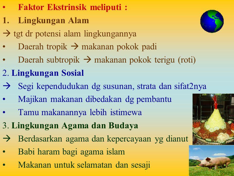 Faktor Ekstrinsik meliputi : 1.Lingkungan Alam  tgt dr potensi alam lingkungannya Daerah tropik  makanan pokok padi Daerah subtropik  makanan pokok