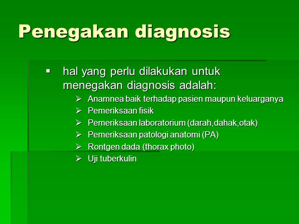 Penegakan diagnosis hhhhal yang perlu dilakukan untuk menegakan diagnosis adalah: AAAAnamnea baik terhadap pasien maupun keluarganya PPPPemeriksaan fisik PPPPemeriksaan laboratorium (darah,dahak,otak) PPPPemeriksaan patologi anatomi (PA) RRRRontgen dada (thorax photo) UUUUji tuberkulin
