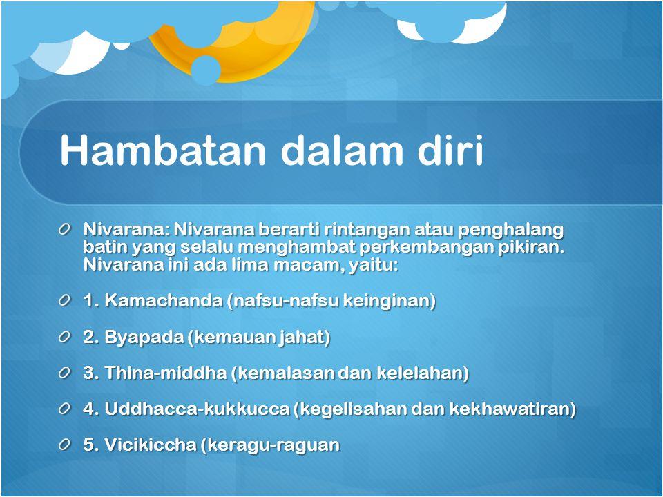 Hambatan dalam diri Nivarana: Nivarana berarti rintangan atau penghalang batin yang selalu menghambat perkembangan pikiran. Nivarana ini ada lima maca