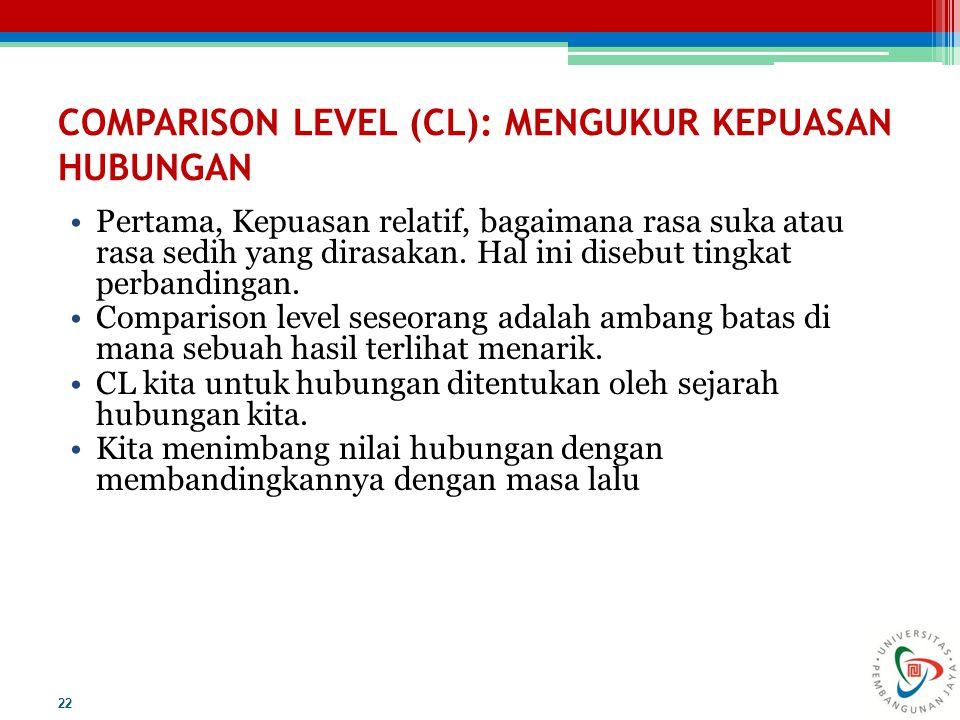 COMPARISON LEVEL (CL): MENGUKUR KEPUASAN HUBUNGAN Pertama, Kepuasan relatif, bagaimana rasa suka atau rasa sedih yang dirasakan. Hal ini disebut tingk