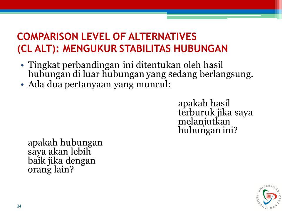 COMPARISON LEVEL OF ALTERNATIVES (CL ALT): MENGUKUR STABILITAS HUBUNGAN Tingkat perbandingan ini ditentukan oleh hasil hubungan di luar hubungan yang sedang berlangsung.