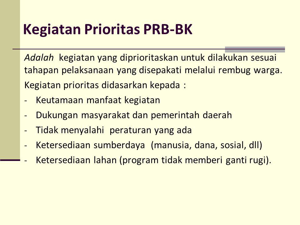 Kegiatan Prioritas PRB-BK Adalah kegiatan yang diprioritaskan untuk dilakukan sesuai tahapan pelaksanaan yang disepakati melalui rembug warga. Kegiata