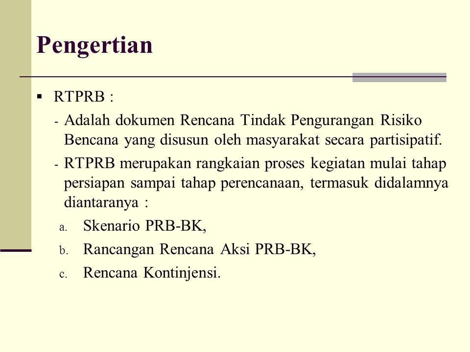 Pengertian  RTPRB : - Adalah dokumen Rencana Tindak Pengurangan Risiko Bencana yang disusun oleh masyarakat secara partisipatif. - RTPRB merupakan ra
