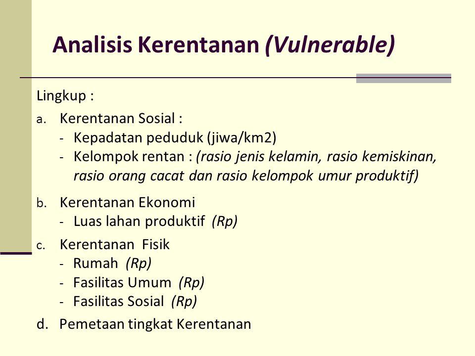 Analisis Kerentanan (Vulnerable) Lingkup : a. Kerentanan Sosial : - Kepadatan peduduk (jiwa/km2) - Kelompok rentan : (rasio jenis kelamin, rasio kemis