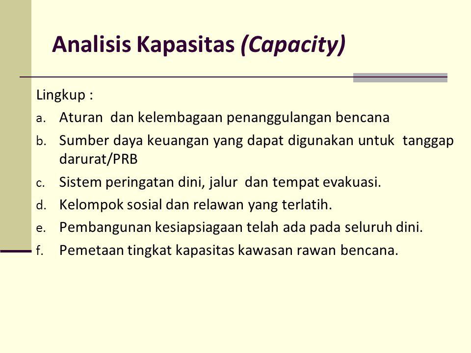 Analisis Kapasitas (Capacity) Lingkup : a. Aturan dan kelembagaan penanggulangan bencana b. Sumber daya keuangan yang dapat digunakan untuk tanggap da