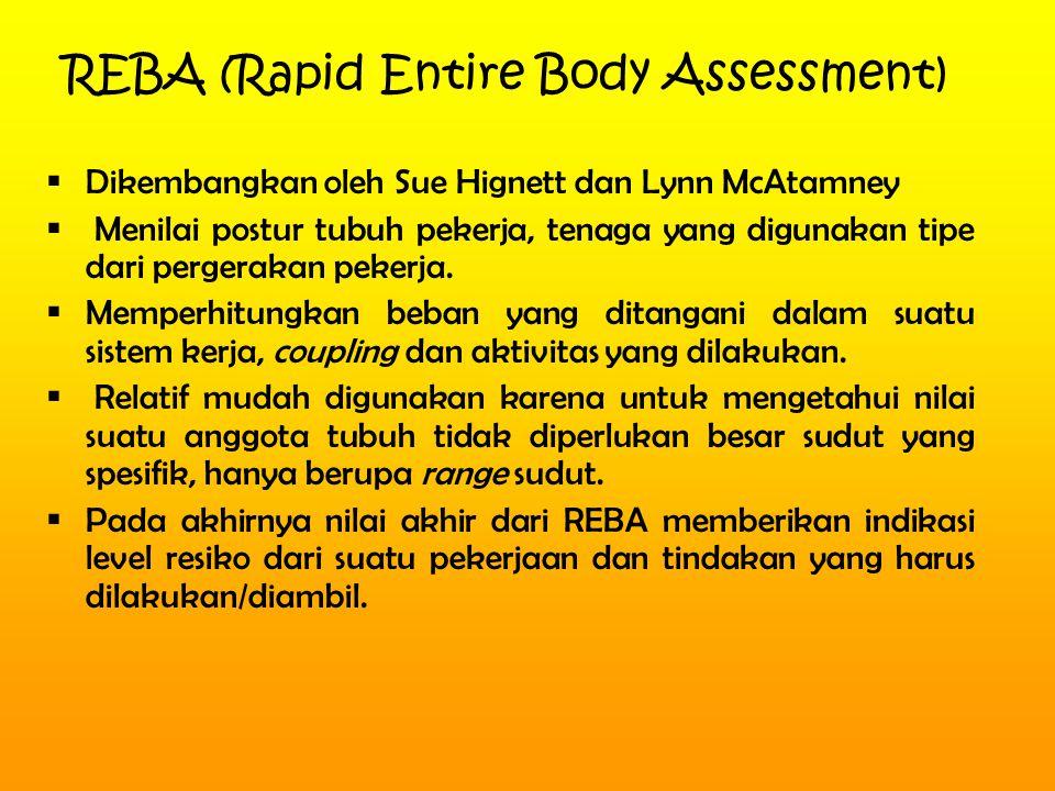 REBA (Rapid Entire Body Assessment)  Dikembangkan oleh Sue Hignett dan Lynn McAtamney  Menilai postur tubuh pekerja, tenaga yang digunakan tipe dari pergerakan pekerja.