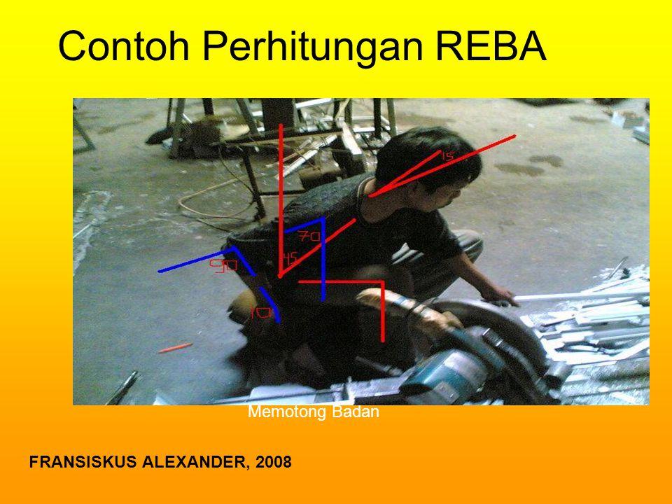 Contoh Perhitungan REBA Memotong Badan FRANSISKUS ALEXANDER, 2008