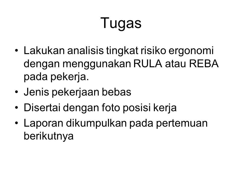 Tugas Lakukan analisis tingkat risiko ergonomi dengan menggunakan RULA atau REBA pada pekerja.