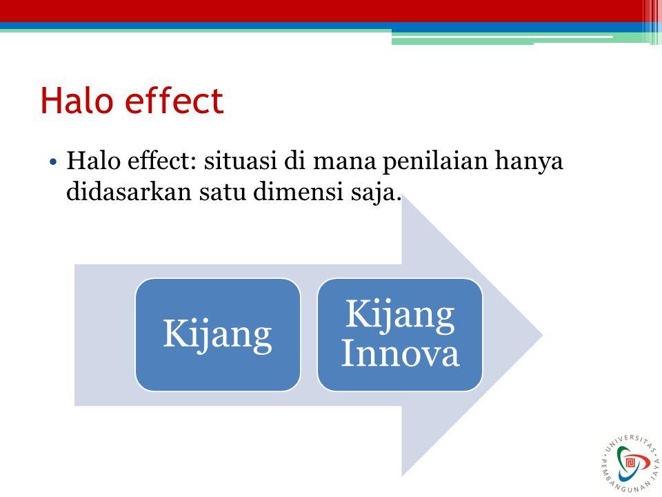 Halo effect Halo effect: situasi di mana penilaian hanya didasarkan satu dimensi saja. Kijang Kijang Innova