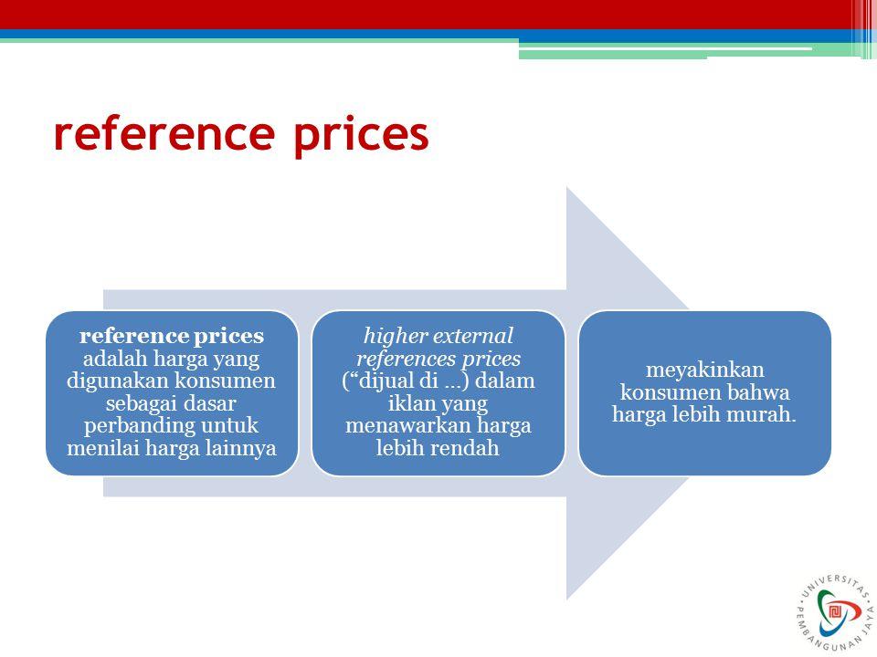 reference prices reference prices adalah harga yang digunakan konsumen sebagai dasar perbanding untuk menilai harga lainnya higher external references