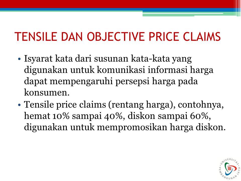 TENSILE DAN OBJECTIVE PRICE CLAIMS Isyarat kata dari susunan kata-kata yang digunakan untuk komunikasi informasi harga dapat mempengaruhi persepsi har
