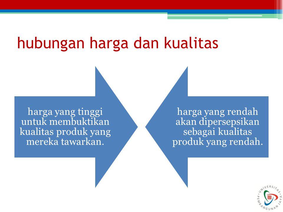 hubungan harga dan kualitas harga yang tinggi untuk membuktikan kualitas produk yang mereka tawarkan. harga yang rendah akan dipersepsikan sebagai kua