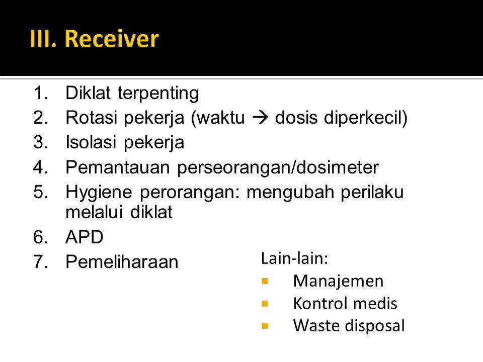 Lain-lain:  Manajemen  Kontrol medis  Waste disposal 1.Diklat terpenting 2.Rotasi pekerja (waktu  dosis diperkecil) 3.Isolasi pekerja 4.Pemantauan