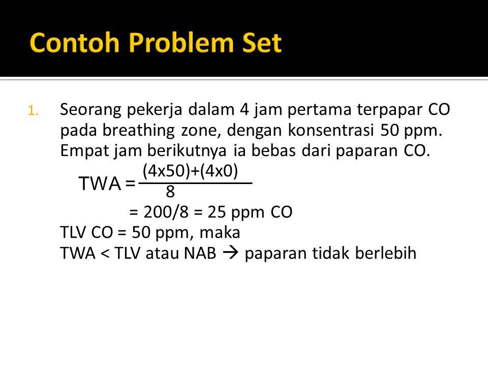 1. Seorang pekerja dalam 4 jam pertama terpapar CO pada breathing zone, dengan konsentrasi 50 ppm. Empat jam berikutnya ia bebas dari paparan CO. (4x5