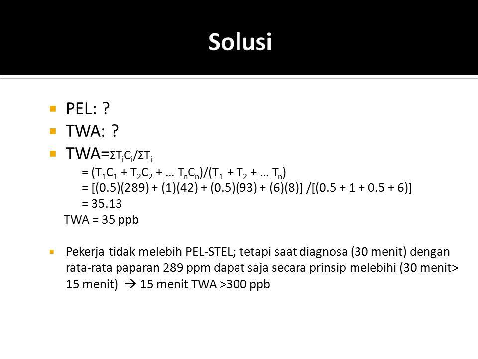  PEL: ?  TWA: ?  TWA= ΣT i C i /ΣT i = (T 1 C 1 + T 2 C 2 + … T n C n )/(T 1 + T 2 + … T n ) = [(0.5)(289) + (1)(42) + (0.5)(93) + (6)(8)] /[(0.5 +