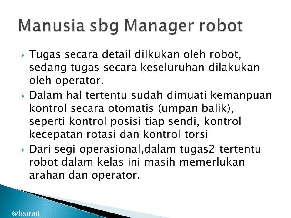  Tugas secara detail dilkukan oleh robot, sedang tugas secara keseluruhan dilakukan oleh operator.  Dalam hal tertentu sudah dimuati kemanpuan kontr