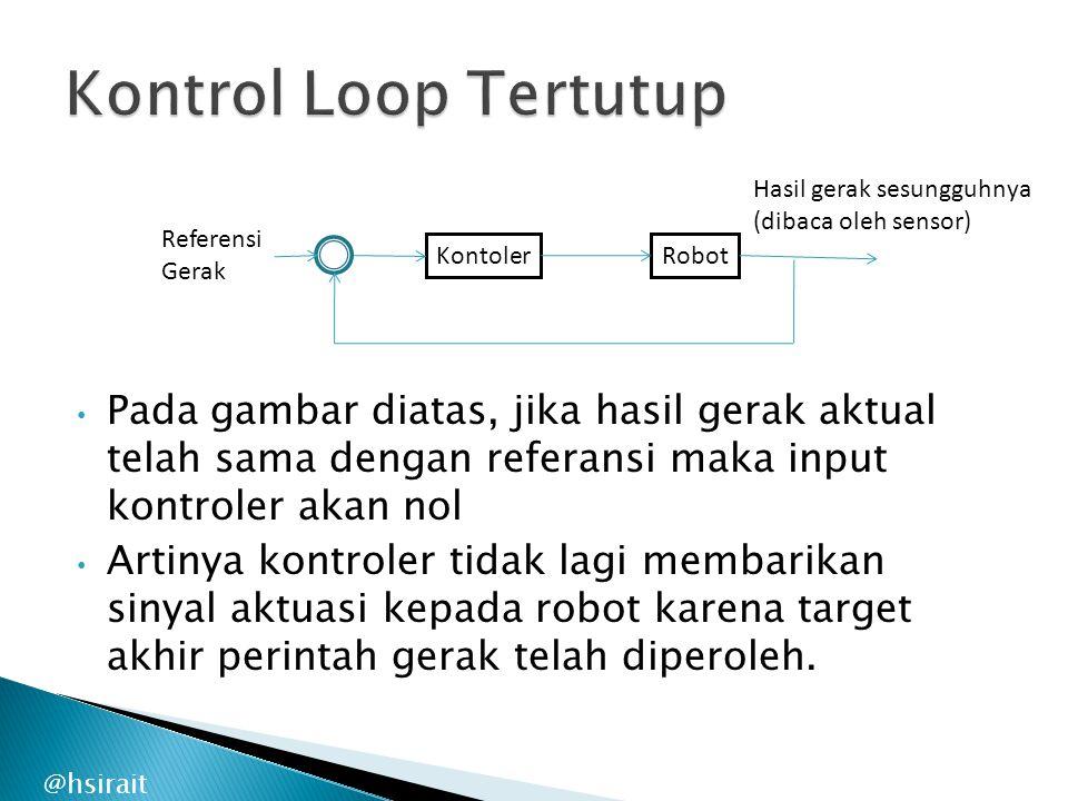 @hsirait Pada gambar diatas, jika hasil gerak aktual telah sama dengan referansi maka input kontroler akan nol Artinya kontroler tidak lagi membarikan