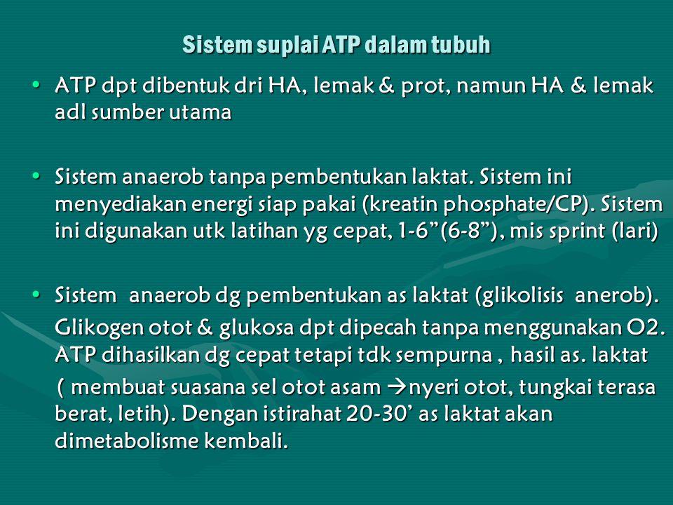 lanjutan Sistem ini digunakan pd latihan dg intensitas sangat tinggi, utk 1-3' ATP yg dihasilkan sangat sedikit (2 unit ATP) namun sangat cepat.Sistem ini digunakan pd latihan dg intensitas sangat tinggi, utk 1-3' ATP yg dihasilkan sangat sedikit (2 unit ATP) namun sangat cepat.