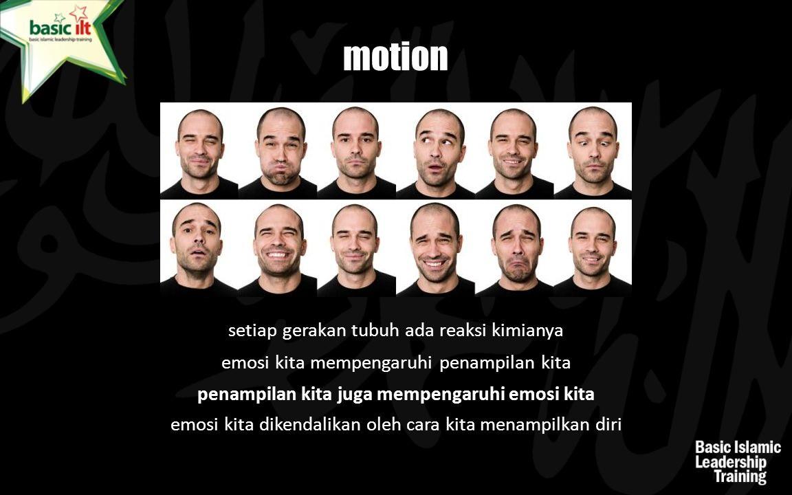emosi kita mempengaruhi penampilan kita penampilan kita juga mempengaruhi emosi kita motion setiap gerakan tubuh ada reaksi kimianya emosi kita dikend