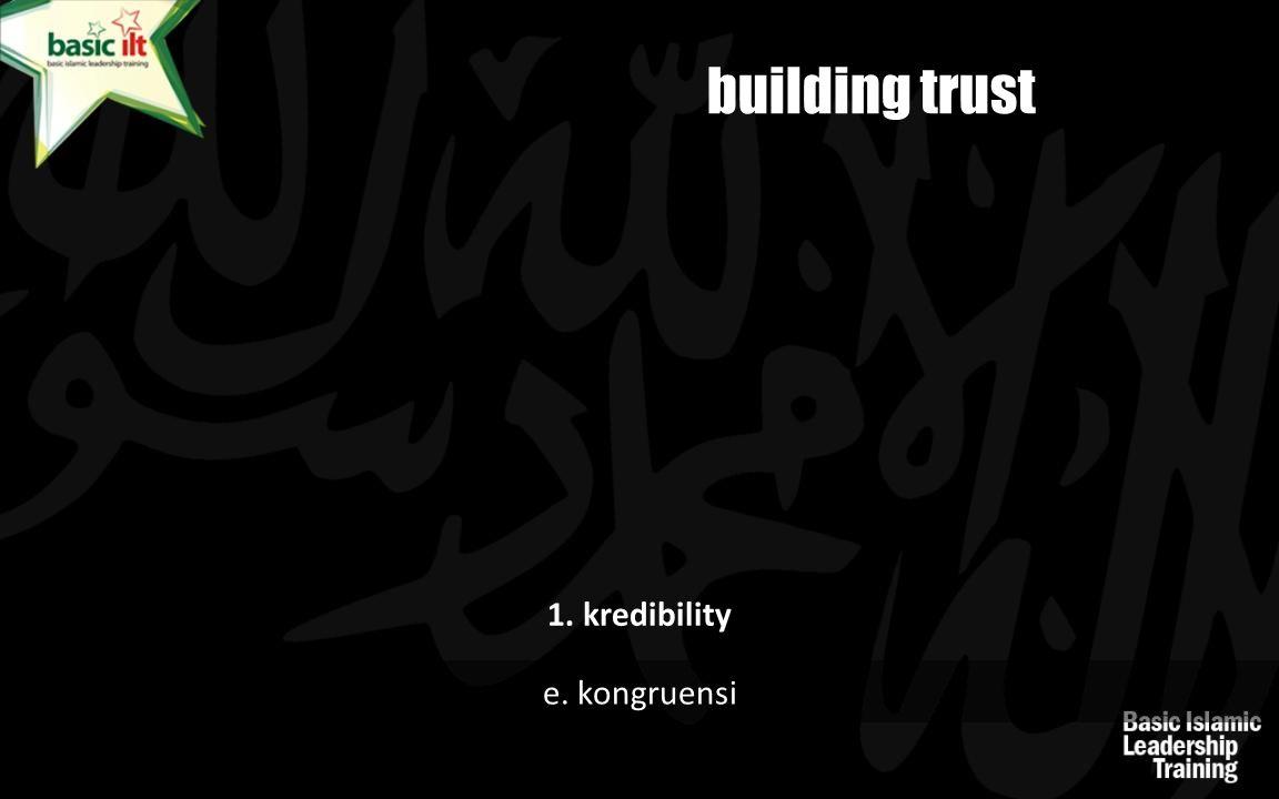 building trust 1. kredibility e. kongruensi