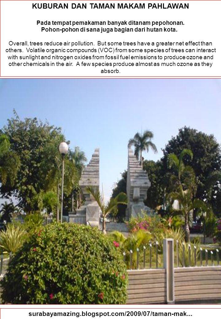 85 KUBURAN DAN TAMAN MAKAM PAHLAWAN Pada tempat pemakaman banyak ditanam pepohonan. Pohon-pohon di sana juga bagian dari hutan kota. Overall, trees re