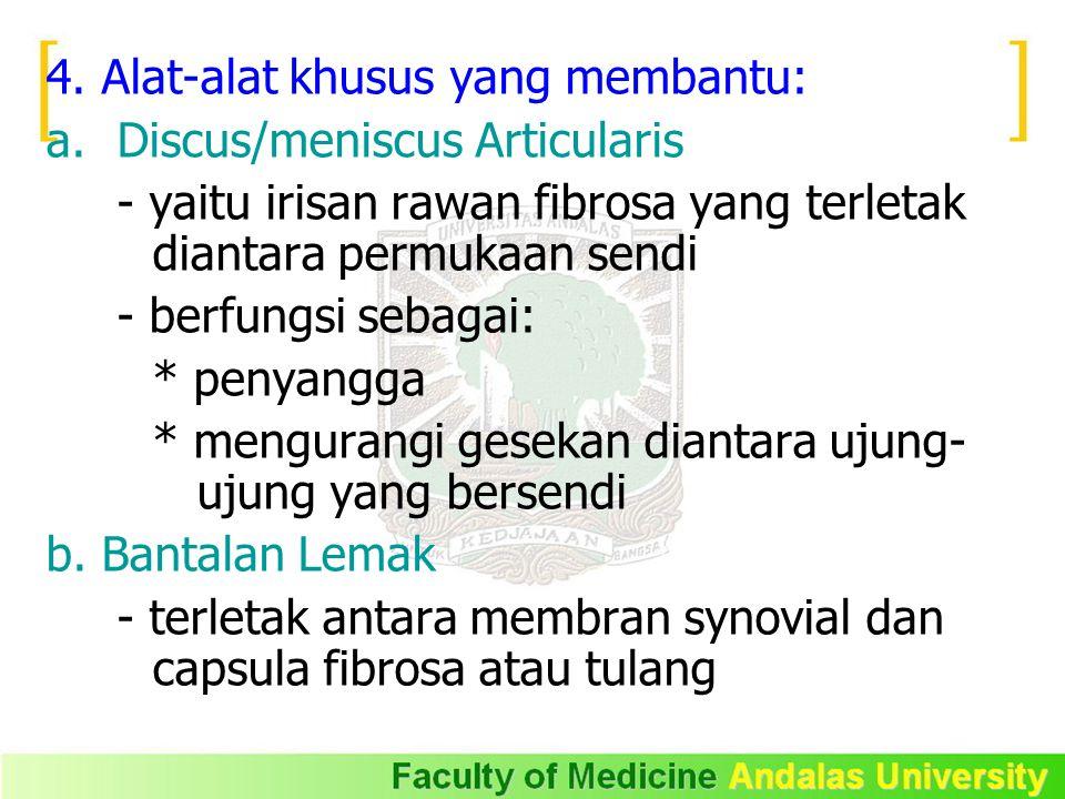 4. Alat-alat khusus yang membantu: a.Discus/meniscus Articularis - yaitu irisan rawan fibrosa yang terletak diantara permukaan sendi - berfungsi sebag