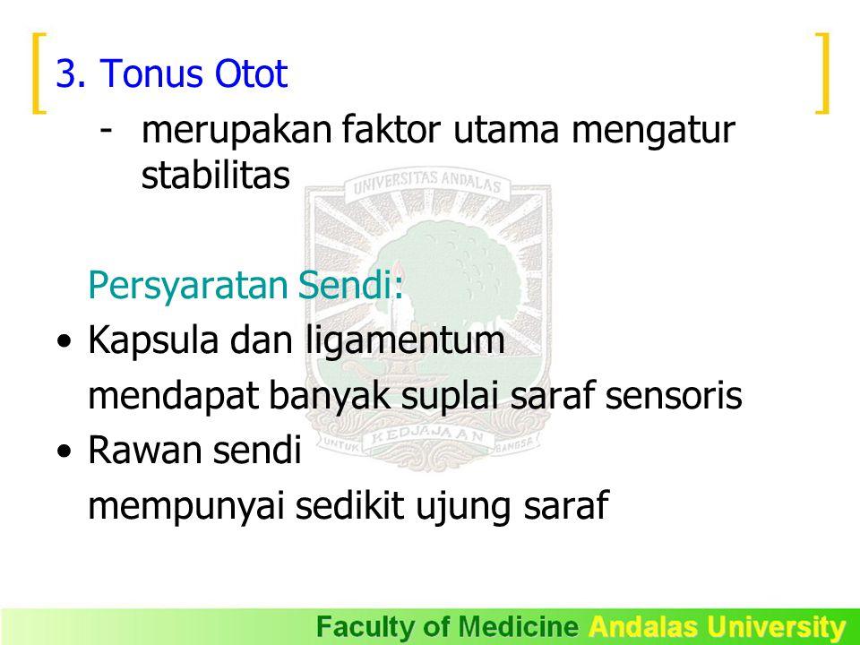3. Tonus Otot - merupakan faktor utama mengatur stabilitas Persyaratan Sendi: Kapsula dan ligamentum mendapat banyak suplai saraf sensoris Rawan sendi